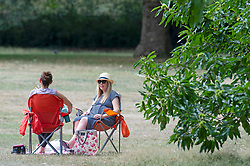 ©Licensed to London News Pictures 03/08/2020     Greenwich, UK. Two ladies sitting on their deck chairs in the park. People out and about in Greenwich Park, Greenwich, London making the most of the bright weather.  Photo credit: Grant Falvey/LNP