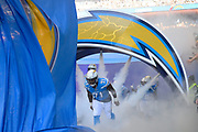 Los Angeles Chargers defensive linesman Damion Square (71) enters the pitch during the International Series match between Tennessee Titans and Los Angeles Chargers at Wembley Stadium, London, England on 21 October 2018.