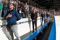 KELOWNA, BC - SEPTEMBER 21:  Spokane Chiefs' head coach Manny Viveiros stands on the bench against the Kelowna Rockets  at Prospera Place on September 21, 2019 in Kelowna, Canada. (Photo by Marissa Baecker/Shoot the Breeze)