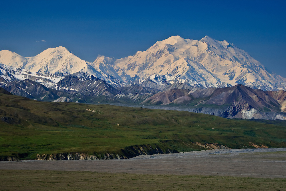 Denali (Mt. McKinley), Mount Carpe, the end of the Muldrow Glacier, and the McKinley River Bar viewed from the Eielson Visitor Center, Denali National Park, AK