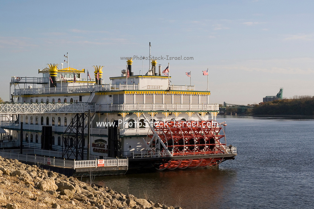 Iowa USA, Riverside park in Clinton, Mississippi River paddle steamer