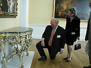 James Miller ( on floor) and Mrs.  Peter Egerton-Warburton, Official opening Compton Verney, 23 March 2004. ONE TIME USE ONLY - DO NOT ARCHIVE  © Copyright Photograph by Dafydd Jones 66 Stockwell Park Rd. London SW9 0DA Tel 020 7733 0108 www.dafjones.com