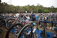 Transition. Noosa Triathlon. 2012 Noosa Triathlon Festival. Noosa, Queensland, Australia. 04/11/2012. Photo By Lucas Wroe