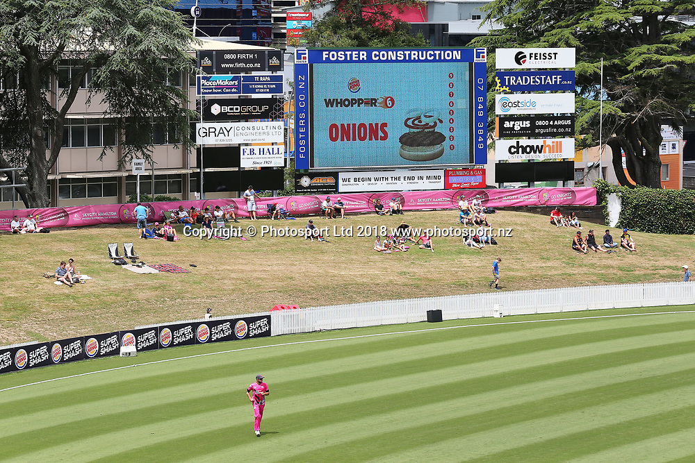 General view of the scoreboard embankment at Seddon Park during the Burger King Super Smash Twenty20 cricket match Knights v Kings played at Seddon Park, Hamilton, New Zealand on Sunday 14 January 2018.<br /> <br /> Copyright photo: &copy; Bruce Lim / www.photosport.nz