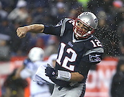 New England Patriots quarterback Tom Brady celebrates after a LeGarrette Blount touchdown in the fourth quarter sealed the fate of the Colts. The Colts visited Gillette Stadium for the AFC Championship game with the New England Patriots Sunday, January 18, 2015.