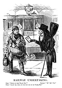 "Railway Undertaking. Touter. ""Going by train, Sire?"" Passenger. ""'M? Eh? Yes."" Touter. ""Allow me, then to give you one of my cards, Sir."""