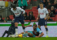 Football - 2018 / 2019 Premier League - Tottenham Hotspur vs. Burnley<br /> <br /> Charlie Taylor (Burnley FC) on the floor attempts to recover the ball from Erik Lamela (Tottenham FC)  at Wembley Stadium.<br /> <br /> COLORSPORT/DANIEL BEARHAM