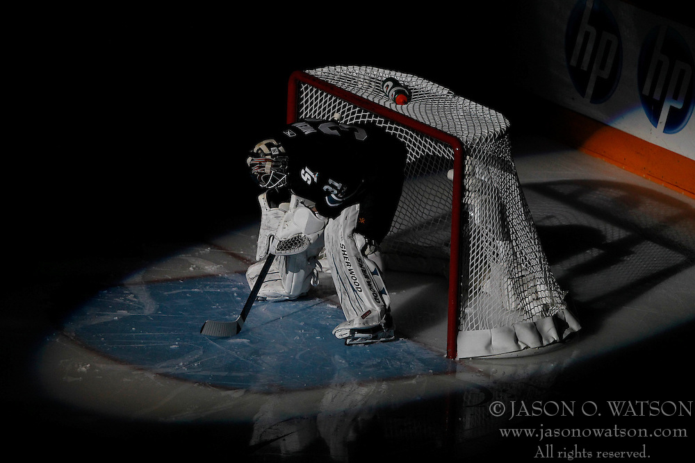 May 22, 2011; San Jose, CA, USA; San Jose Sharks goalie Antti Niemi (31) stands in net before game four of the western conference finals of the 2011 Stanley Cup playoffs against the Vancouver Canucks at HP Pavilion. Mandatory Credit: Jason O. Watson / US PRESSWIRE