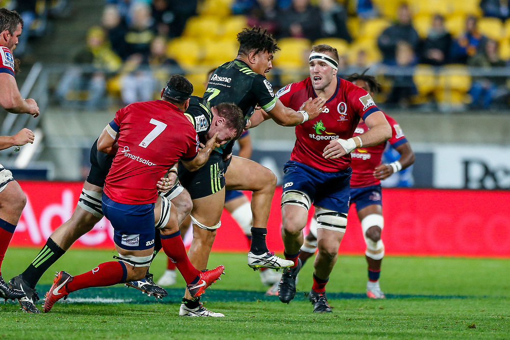 Ardie Savea runs during the the Super rugby union game (Round 14) played between Hurricanes v Reds, on 18 May 2018, at Westpac Stadium, Wellington, New  Zealand.    Hurricanes won 38-34.