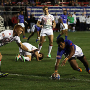 Sani Niue scores the first try for the Manu Samoa in their 22-19 victory over England on the first day of action at the USA Sevens, Sam Boyd Stadium, Las Vegas, Nevada.  Photo by Barry Markowitz, Courtesy STP/TriMarine, 1/24/19, 4pm