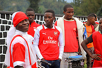 "U.K. soccer club Arsenal and the Rwandan Development Board announced a sponsorship deal in late May 2018 which will see ""Visit Rwanda"" printed on the sleeves of the Arsenal kit for the next 3 seasons at a cost to the Rwanda Development board of £10million per season. It is  intended to promote tourism to Rwanda. Pictured here Arsenal supporters in Kigali, May 28th, 2018"