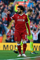 LIVERPOOL, ENGLAND - Saturday, April 14, 2018: Liverpool's Mohamed Salah celebrates scoring the second goal during the FA Premier League match between Liverpool FC and AFC Bournemouth at Anfield. (Pic by Laura Malkin/Propaganda)