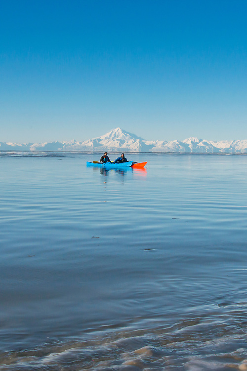 Winter Kayaking among rim ice and ice chunks In Alaska's Cook Inlet is not for the inexperienced, but going with a group of skilled kayakers can be the cure for cabin fever.