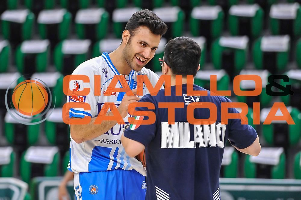 DESCRIZIONE : Campionato 2014/15 Dinamo Banco di Sardegna Sassari - Olimpia EA7 Emporio Armani Milano Playoff Semifinale Gara3<br /> GIOCATORE : Brian Sacchetti Giustino Danesi<br /> CATEGORIA : Fair Play Before Pregame<br /> SQUADRA : Dinamo Banco di Sardegna Sassari<br /> EVENTO : LegaBasket Serie A Beko 2014/2015 Playoff Semifinale Gara3<br /> GARA : Dinamo Banco di Sardegna Sassari - Olimpia EA7 Emporio Armani Milano Gara4<br /> DATA : 02/06/2015<br /> SPORT : Pallacanestro <br /> AUTORE : Agenzia Ciamillo-Castoria/L.Canu