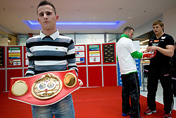 Title holder Slovenian Boxer Dejan Zavec alias Jan Zaveck alias Mr. Simpatikus at open for public and press practice session before defending title of IBF World Champion, on April 6, 2010, in BTC City park, Ljubljana, Slovenia.  (Photo by Vid Ponikvar / Sportida)