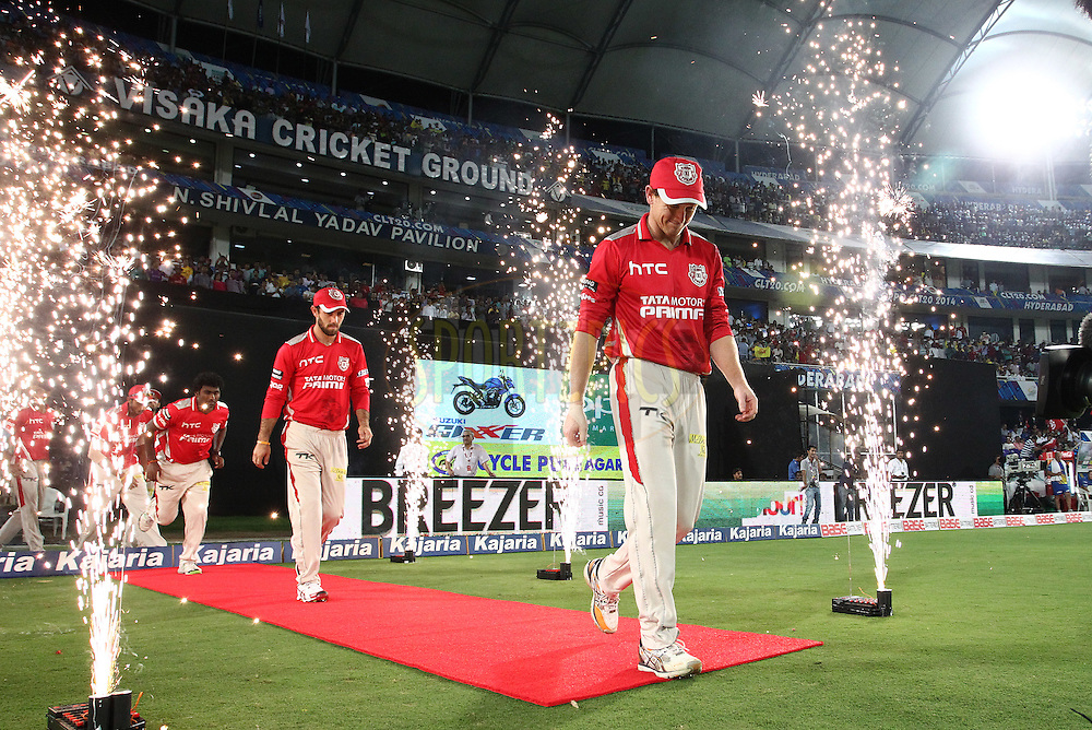 Kings XI Punjab captain George Bailey leads his players onto the field during the second semi final match of the Oppo Champions League Twenty20 between the Kings XI Punjab and the Chennai Super Kings held at the Rajiv Gandhi Cricket Stadium, Hyderabad, India on the 2nd October 2014<br /> <br /> Photo by:  Shaun Roy / Sportzpics/ CLT20<br /> <br /> <br /> Image use is subject to the terms and conditions as laid out by the BCCI/ CLT20.  The terms and conditions can be downloaded here:<br /> <br /> http://sportzpics.photoshelter.com/gallery/CLT20-Image-Terms-and-Conditions-2014/G0000IfNJn535VPU/C0000QhhKadWcjYs
