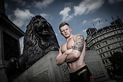 Adam Peaty MBE was in Trafalgar Square, London with swimwear brand Arena to launch the Adam Peaty &lsquo;Instinct&rsquo; signature collection ahead of his participation in the World Swimming Championships (Budapest July 14-30).<br /> &copy; Lloyd images ltd <br />  www.lloydimages.com