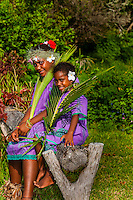 Kanak (Melanesian) girls, Lifou (island), Loyalty Islands, New Caledonia
