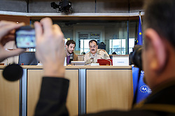 Brigadier General Salim Idriss, Chief of Staff of the Free Syrian Army, prepares to speak at the European Parliament, in Brussels, Belgium on Monday, March 6, 2013. Idriss was a general in the Syrian Army when he defected in July 2012. (Photo © Jock Fistick)