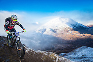 Mark Mackenzie of the Army Enduro MTB Team enjoys the traverse on stage one of the Kinlochleven Enduro.