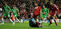 Photo: Paul Thomas.<br /> Liverpool v Maccabi Haifa. UEFA Champions League Qualifier. 09/08/2006.<br /> <br /> Mark Gonzalez (11) scores the winning goal for Liverpool.
