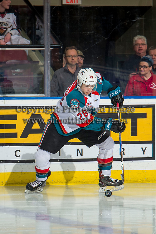 KELOWNA, CANADA - FEBRUARY 16:  Leif Mattson #28 of the Kelowna Rockets skates with the puck against the Vancouver Giants on February 16, 2019 at Prospera Place in Kelowna, British Columbia, Canada.  (Photo by Marissa Baecker/Shoot the Breeze)