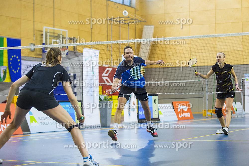 Luka Petric (BK Branik) and Tina Kodric (BK Kungota) during 58th Slovenian national championship in badminton on Februar 1, 2015 in Zg. Kungota, Slovenia. (Photo By Grega Valancic / Sportida)
