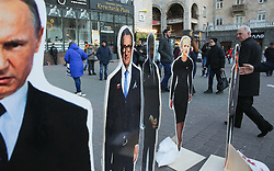 March 28, 2019 - Kiev, Ukraine - People walk past the figures of Ukrainian presidential candidates Tymoshenko, Zelensky and Taruta, oligarch Ihor Kolomoyskyi and Russian President Vladimir Putin set up  by unknown activists  in downtown Kyiv, Ukraine, March 28, 2019. The presidential election will held in Ukraine on March 31, 2019. (Credit Image: © Sergii Kharchenko/NurPhoto via ZUMA Press)