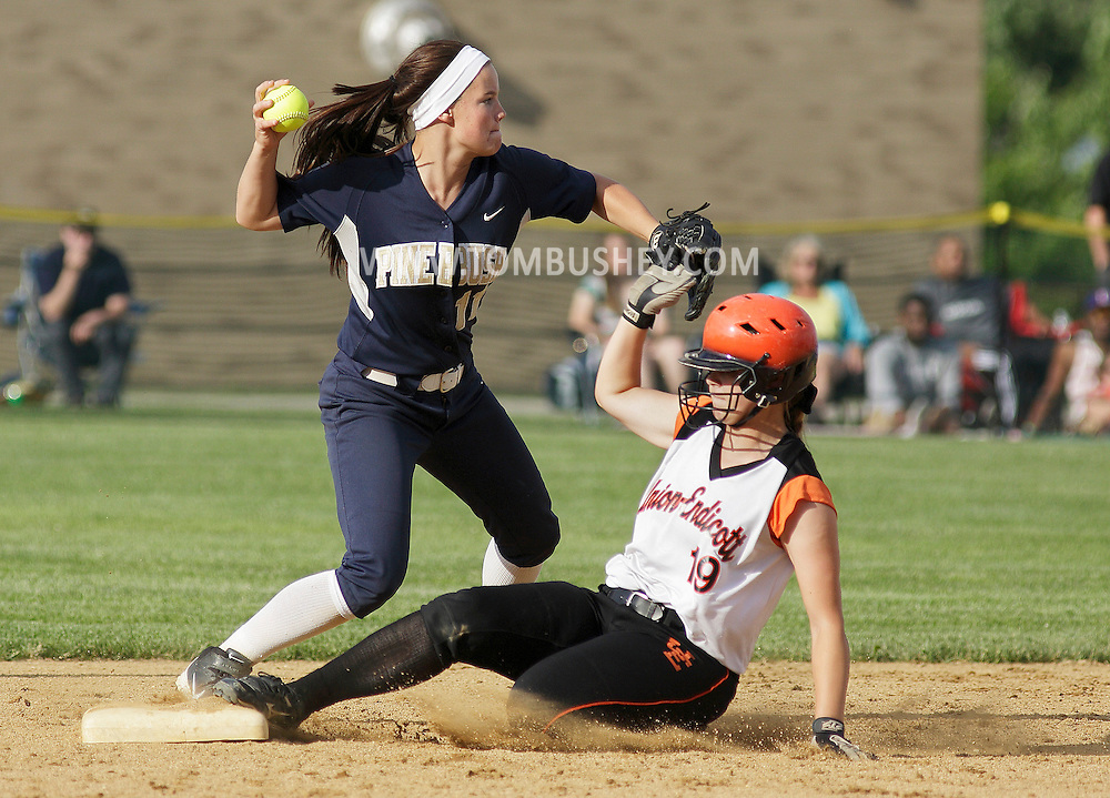 Pine Bush shortstop Crysti Eichner throws to first after forcing Union-Endicott's Karleigh Eaton out at second base duringthe opening round of the state Class AA softball tournament at Minisink Valley's field in Slate Hill on Monday, June 3, 2013.