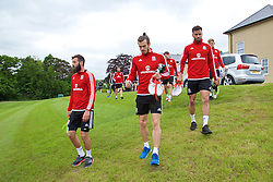 CARDIFF, WALES - Wednesday, June 1, 2016: Wales' Joe Ledley, Gareth Bale and Hal Robson-Kanu during a training session at the Vale Resort Hotel ahead of the International Friendly match against Sweden. (Pic by David Rawcliffe/Propaganda)