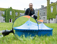 Niamh Ní Fhlatharta, a 3rd Year BA student in Drama, Theatre & Performance at NUI Galway studies the iconic Big Top in preparation for her whirlwind two-week internship at Galway International Arts Festival. The SELECTED Programme is central to the partnership between NUI Galway and the Festival, which gives a limited number of students full access behind-the-scenes to see how a festival of this magnitude is presented to a world stage.  Photo: Andrew Downes, Xposure.