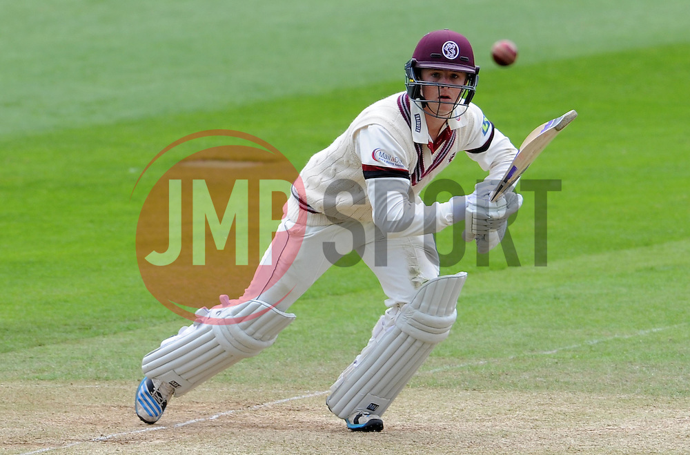 Somerset's Tom Abell drives the ball. Photo mandatory by-line: Harry Trump/JMP - Mobile: 07966 386802 - 10/05/15 - SPORT - CRICKET - Somerset v New Zealand - Day 3- The County Ground, Taunton, England.