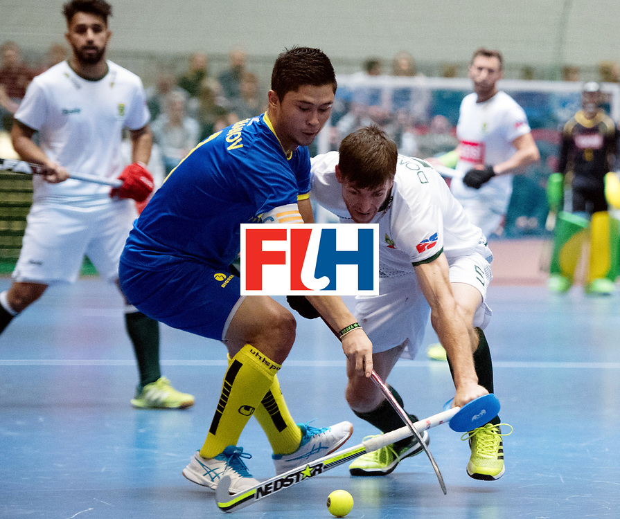 BERLIN - Indoor Hockey World Cup<br /> Kazakhstan - South Africa<br /> foto: Daulet Urmanov and Justin Domleo <br /> WORLDSPORTPICS COPYRIGHT FRANK UIJLENBROEK