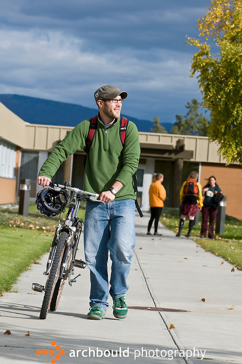 College student bikes on campus.<br /> <br /> NOT IN YOUR BUDGET? Contact Cathie for a price specific to your project.