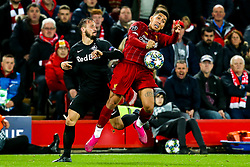 Roberto Firmino of Liverpool takes on Andreas Ulmer of FC Salzburg - Mandatory by-line: Robbie Stephenson/JMP - 02/10/2019 - FOOTBALL - Anfield - Liverpool, England - Liverpool v Red Bull Salzburg - UEFA Champions League Group Stage