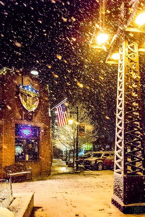 """""""Downtown Truckee 60"""" - Photograph of Historic Downtown Truckee shot at night during a snowstorm."""