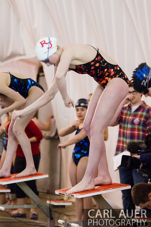 January 8, 2013: Olympic Gold Medalist and Regis Jesuit High School senior Missy Franklin gets ready for her return to the pool after the London Olympics during the swim meet against Highlands Ranch at Regis Jesuit High School.