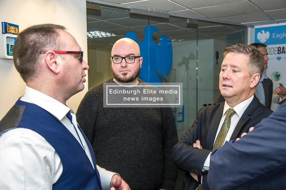 Pictured: Keith Brown with Stuart Brown (white shirt) Head of SME Barclays bankingScotland and Stephen Coleman, CEO and founder of Codebase<br /> Today Keith Brown MSP opened Scotland's first Barclays Eagle lab in partnership with CodeBase. The resource allows businesses and communities to access new technologies and boost digital skills while supporting job creation in the local economy. <br /> <br /> Ger Harley | EEm 16 January 2018