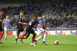 November 2, 2017 - San Sebastian, Gipuzkoa - Basque Country, Spain - Adnan Januzaj of Real Sociedad duels for the ball with Dejan Blazevski, Darko Velkoski and  Hovhannes Hambartsumyan  of FK Vardar during the UEFA Europa League Group L football match between Real Sociedad and FK Vardar at the Anoeta Stadium, on 2 November 2017 in San Sebastian, Spain  (Credit Image: © Jose Ignacio Unanue/NurPhoto via ZUMA Press)