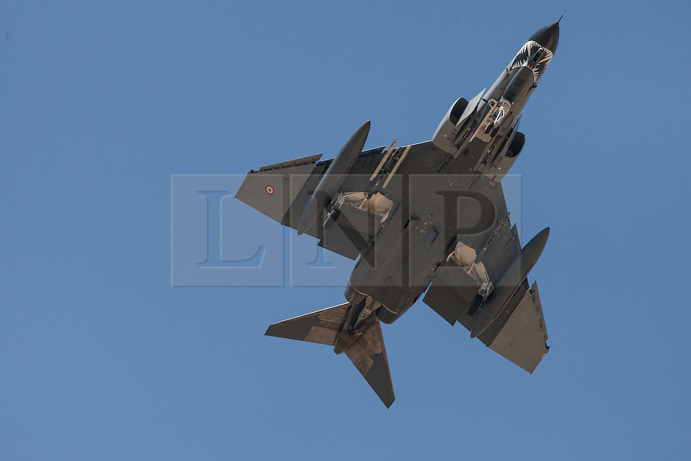 """© licensed to London News Pictures. London, UK 28/08/2011. A Turkish F-4 Phantom jet leaves Eskisehir Military Airbase on 28/08/11. Today the Syrian military has said it shot down a F-4 Phantom Turkish plane """"flying in airspace over Syrian waters"""". Two crew members are being searched over Mediterranean sea. Photo credit: Tolga Akmen/LNP"""