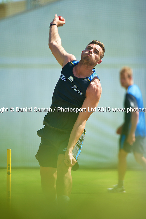 Tim Southee of the New Zealand Black Caps bowls in the nets during the training session on the 12th of November 2015. The New Zealand Black Caps tour of Australia, 2nd test at the WACA ground in Perth, 13 - 17th of November 2015.   Photo: Daniel Carson / www.photosport.nz