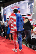 A GOP delegate wears a stars and stripes suit during the Republican National Convention July 20, 2016 in Cleveland, Ohio.
