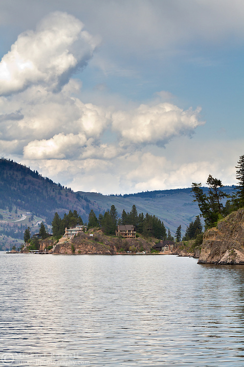 Houses on the shore of Okanagan Lake from Ellison Provincial Park in Vernon, British Columbia, Canada