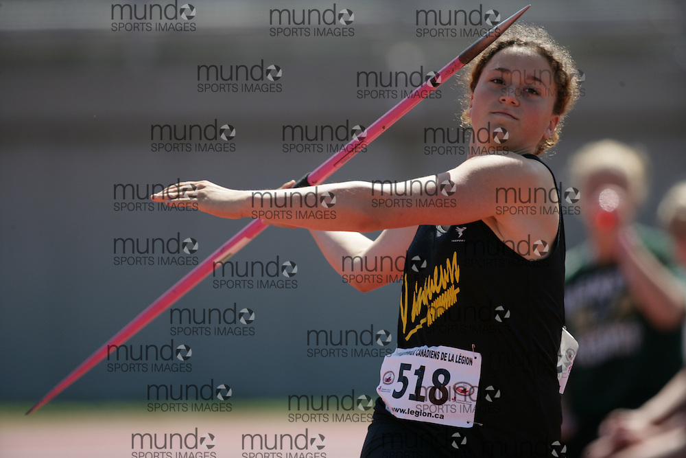 (Sherbrooke, Quebec -- 8 Aug 2009)  Lucie-Maude T?treault of Vainqueurs (Les) competes in girls under-17 (youth) javelin at the 2009 Royal Canadian Legion National Youth track and field championships. Photograph copyright Sean Burges / Mundo Sport Images  2009.