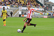 Danny Wright scores his penalty during the Vanarama National League match between Torquay United and Cheltenham Town at Plainmoor, Torquay, England on 29 August 2015. Photo by Antony Thompson.
