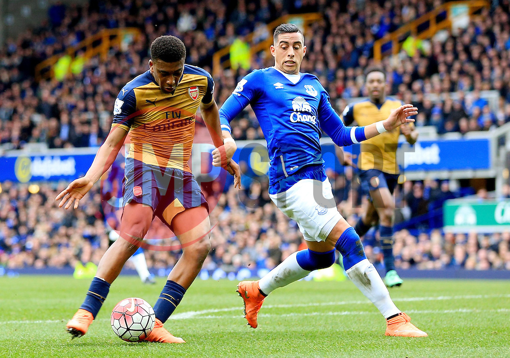 Arsenal's Alex Iwobi scores his sides second goal  - Mandatory byline: Matt McNulty/JMP - 19/03/2016 - FOOTBALL - Goodison Park - Liverpool, England - Everton v Arsenal - Barclays Premier League