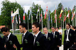 Dejan Stevanovic, Zlatan Ljubijankic, Andraz Kirm, Milan Miklavic, Tomaz Kavcic and Marko Suler at official presentation of Slovenian National Football team for World Cup 2010 South Africa, on May 21, 2010 in Congress Center Brdo at Kranj, Slovenia. (Photo by Vid Ponikvar / Sportida)
