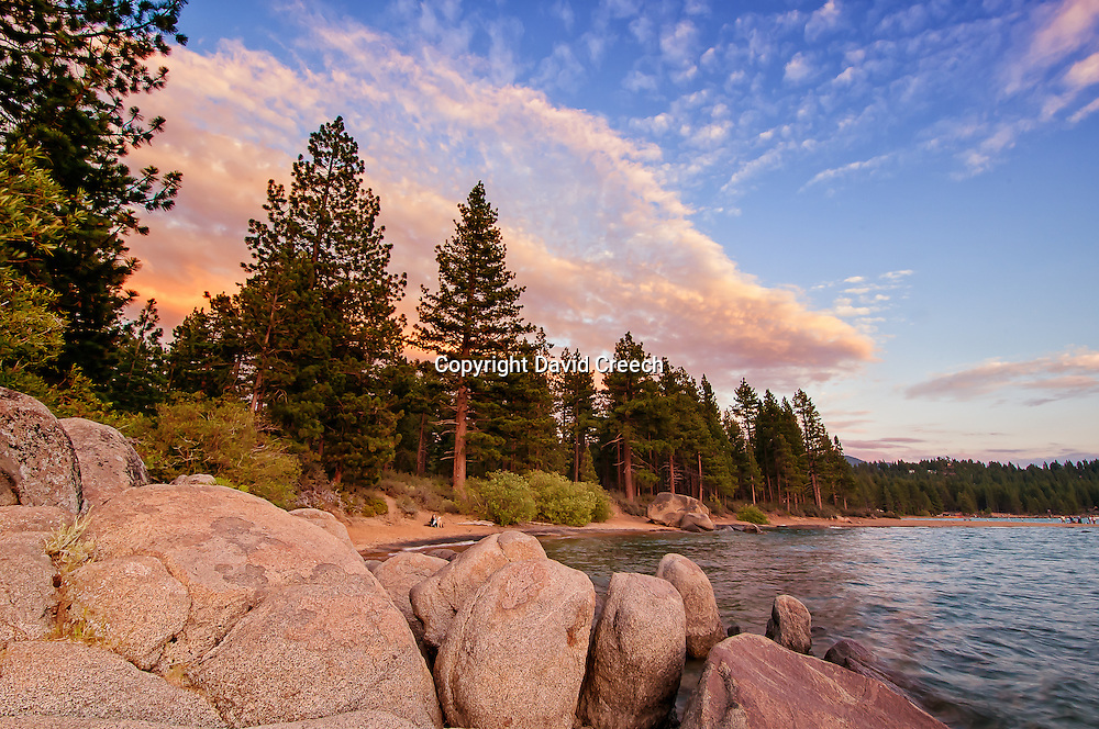 Summer evening at Lake Tahoe, near Zephyr Cove and Edgewood.