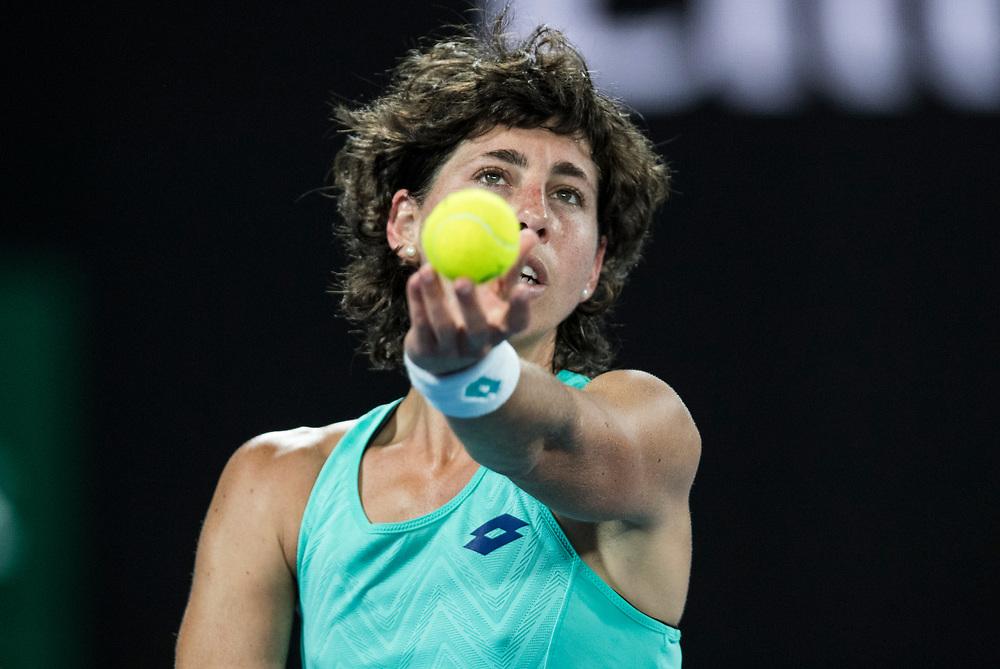 Carla Su&aacute;rez Navarro of Spain on day nine of the 2018 Australian Open in Melbourne Australia on Tuesday January 23, 2018.<br /> (Ben Solomon/Tennis Australia)