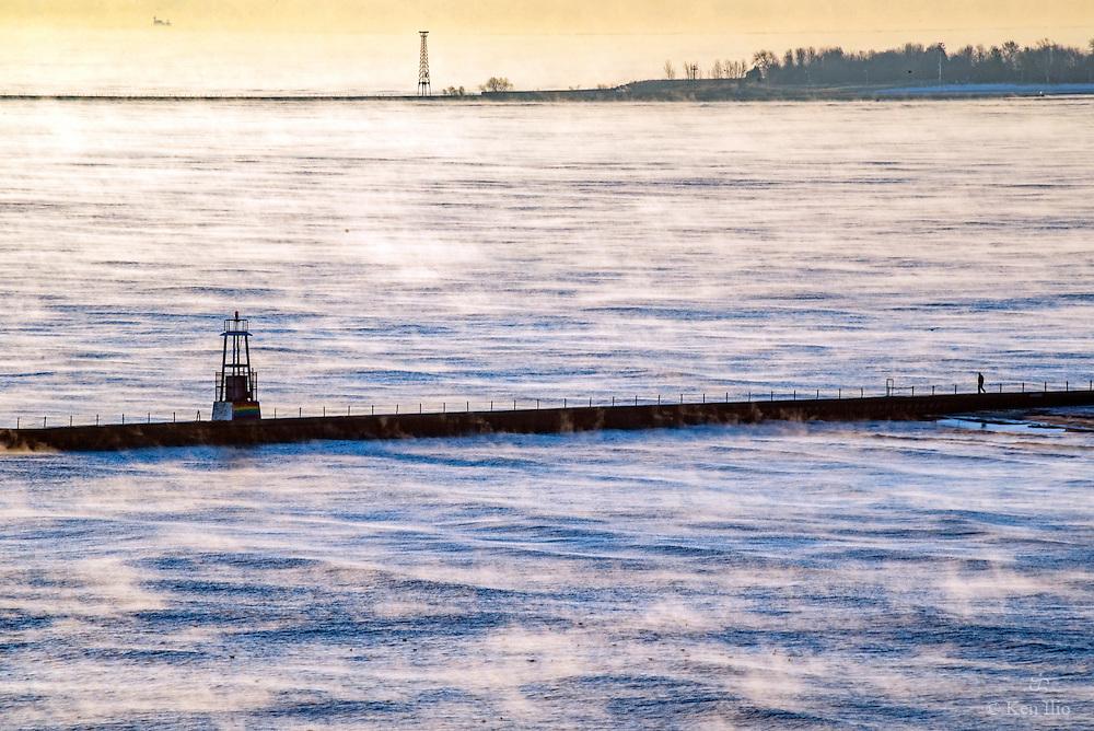 The groin on Lake Michigan, Edgewater